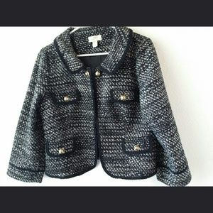 Ann Taylor Loft Black Tweed Jacket Sz 12